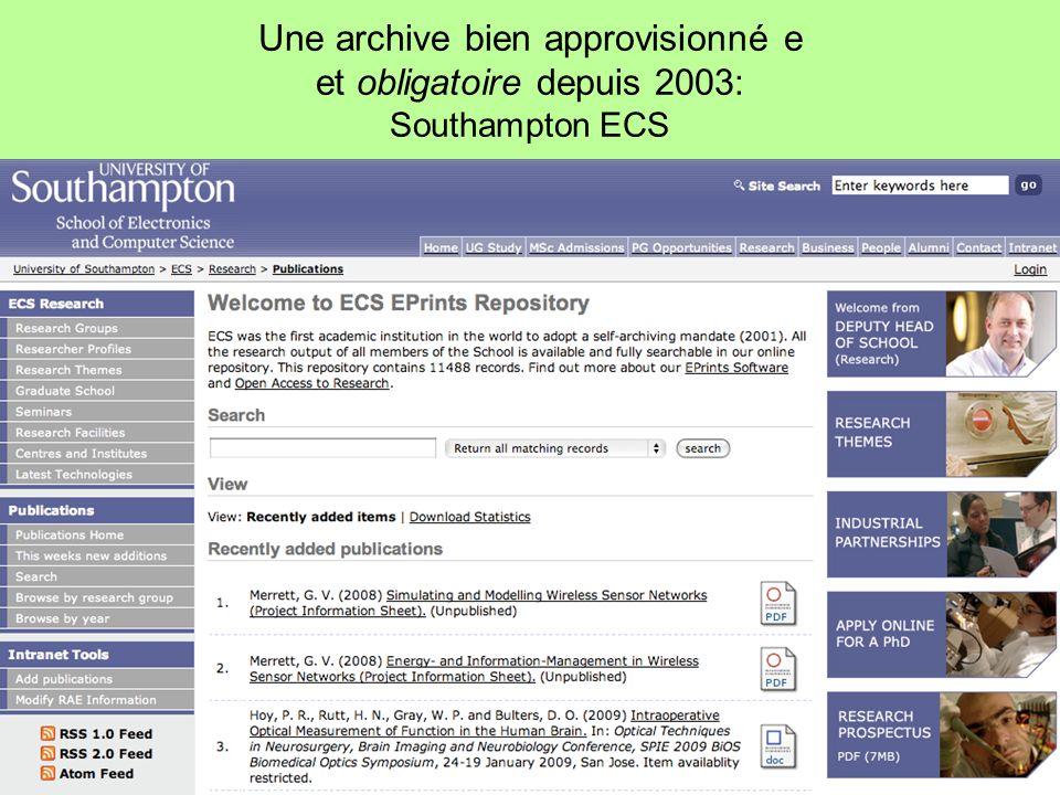 Une archive bien approvisionné e et obligatoire depuis 2003: Southampton ECS