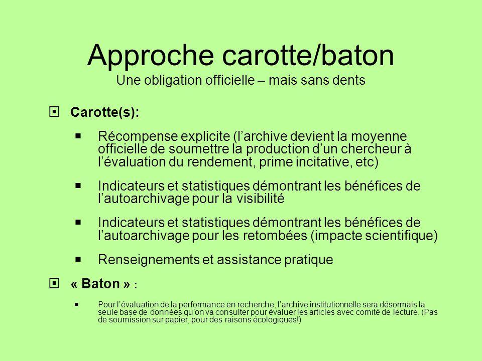 Approche carotte/baton Une obligation officielle – mais sans dents Carotte(s): Récompense explicite (larchive devient la moyenne officielle de soumett