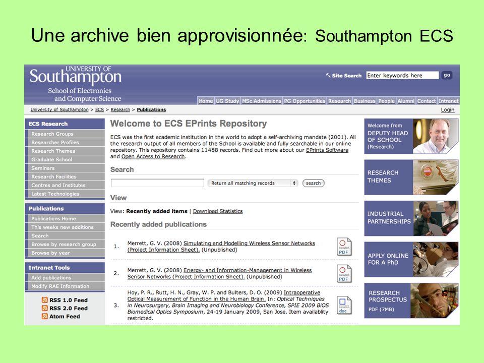 Une archive durable Croissance des documents déposés depuis 2003 dans l`archive de Southampton: