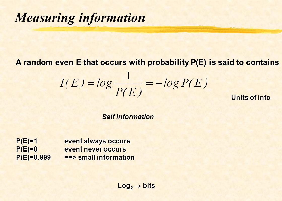Measuring information A random even E that occurs with probability P(E) is said to contains Units of info Self information P(E)=1event always occurs P