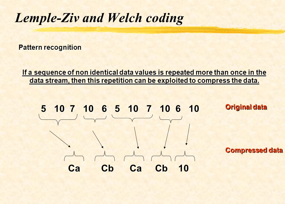 Lemple-Ziv and Welch coding Pattern recognition If a sequence of non identical data values is repeated more than once in the data stream, then this re