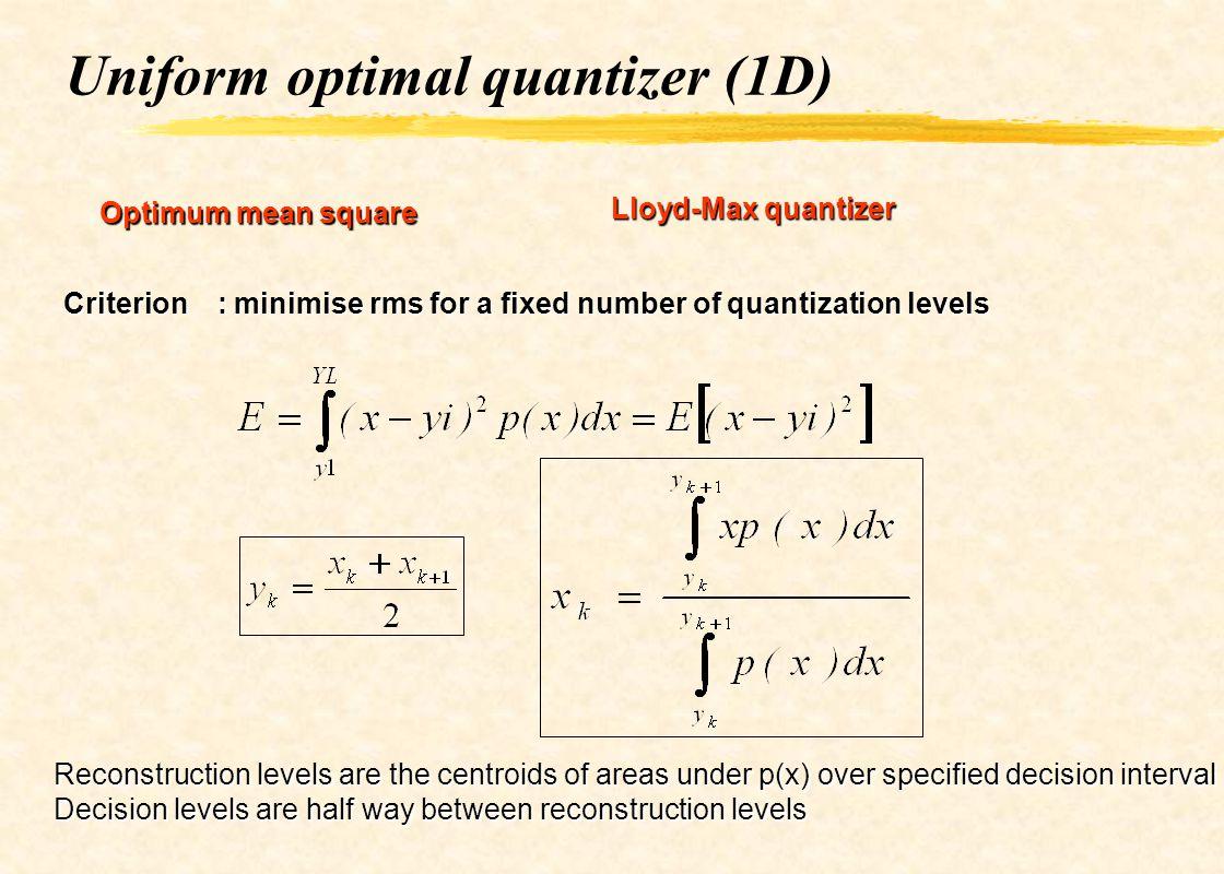 Uniform optimal quantizer (1D) Optimum mean square Lloyd-Max quantizer Criterion : minimise rms for a fixed number of quantization levels Reconstructi