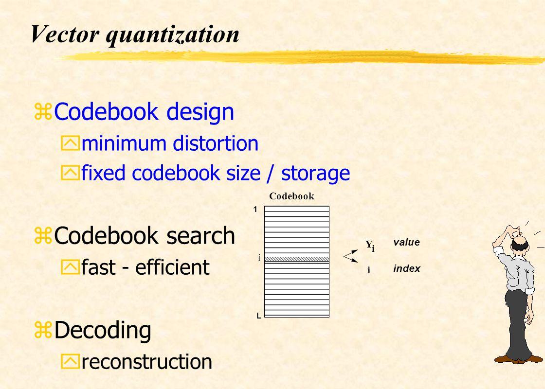 Vector quantization zCodebook design yminimum distortion yfixed codebook size / storage zCodebook search yfast - efficient zDecoding yreconstruction 1