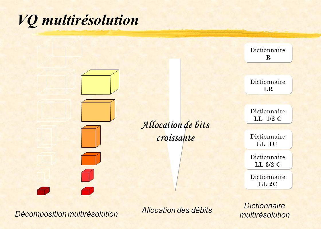 VQ multirésolution Dictionnaire R LR Dictionnaire LL 1/2 C Dictionnaire LL 1C Dictionnaire LL 3/2 C Dictionnaire LL 2C Allocation des débits Allocatio