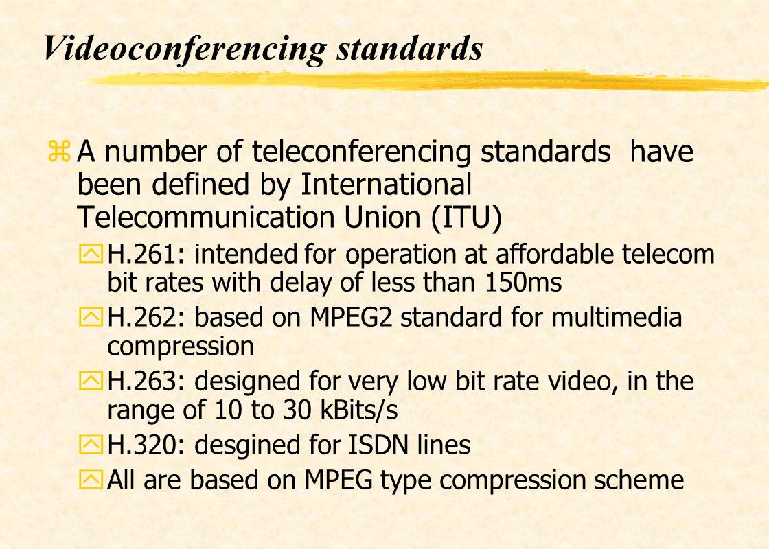Videoconferencing standards zA number of teleconferencing standards have been defined by International Telecommunication Union (ITU) yH.261: intended