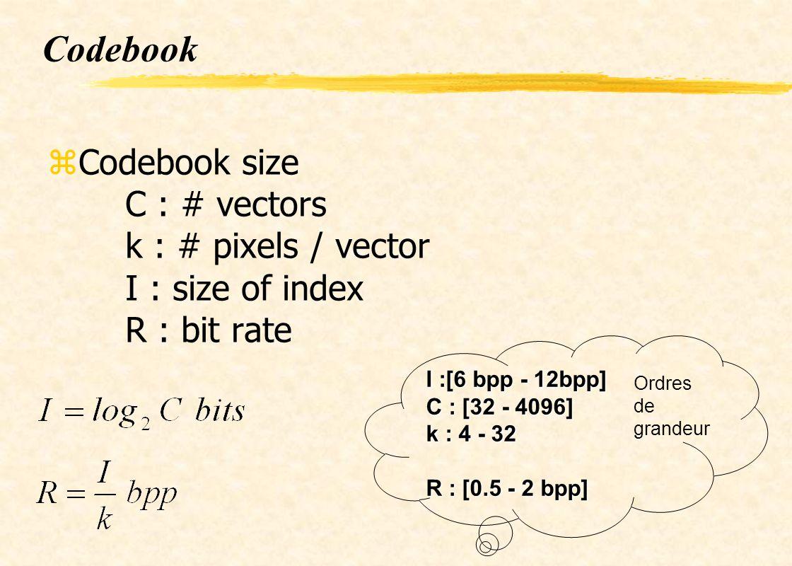 Codebook zCodebook size C : # vectors k : # pixels / vector I : size of index R : bit rate I :[6 bpp - 12bpp] C : [32 - 4096] k : 4 - 32 R : [0.5 - 2