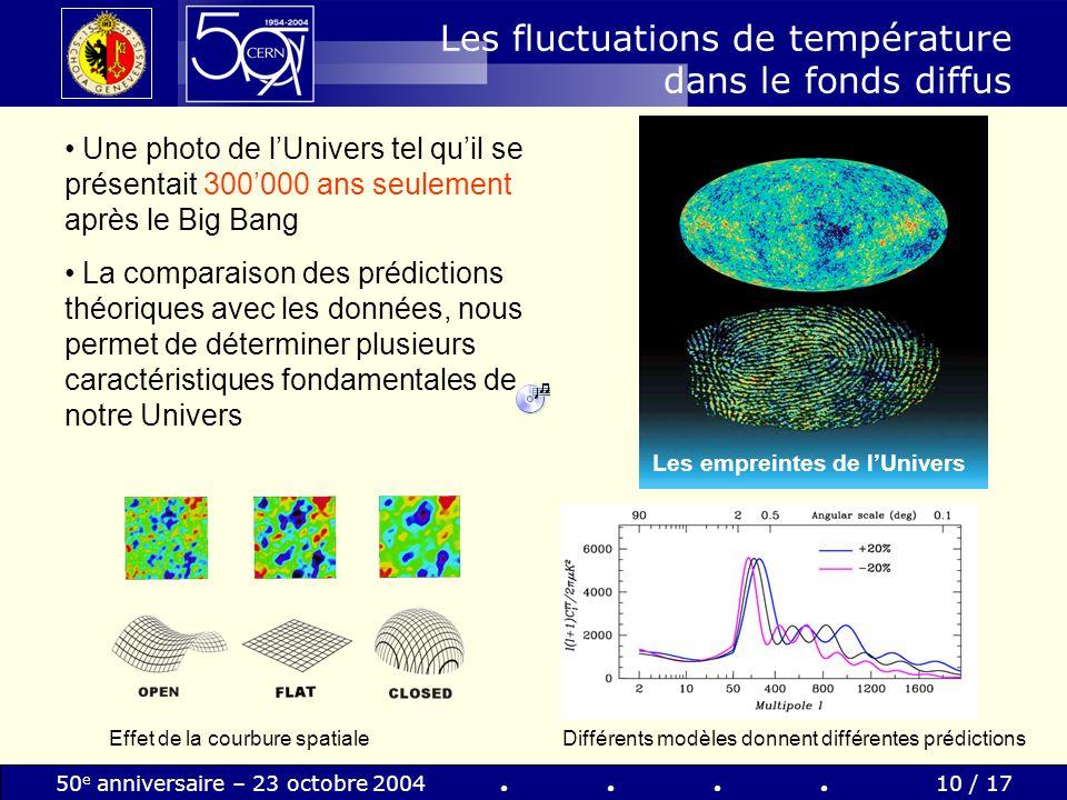 50 e anniversaire – 23 octobre 200410 / 17 Les fluctuations de température dans le fonds diffus Une photo de lUnivers tel quil se présentait 300000 an
