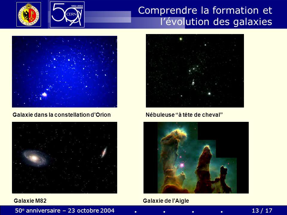 50 e anniversaire – 23 octobre 200413 / 17 Comprendre la formation et lévolution des galaxies Galaxie de lAigle Galaxie dans la constellation dOrionNé