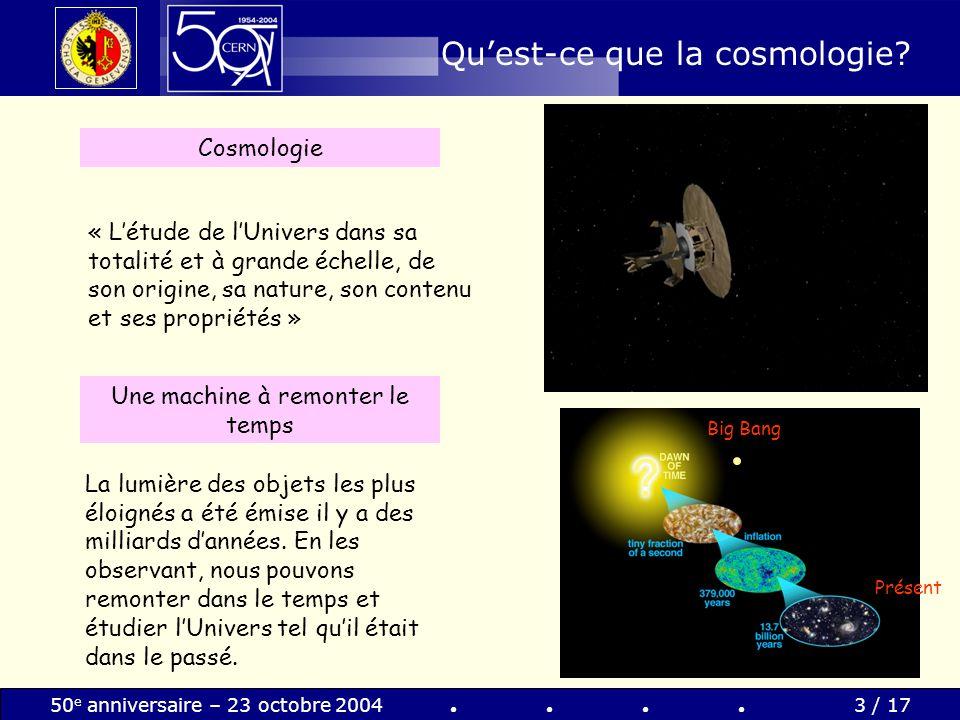 50 e anniversaire – 23 octobre 20044 / 17 Cosmologie et physique fondamentale Temps Energie / Température Observations cosmologiques Téléscopes / satellites Linfiniment grand Physique des particules Accélérateurs de particules: des microscopes modernes Linfiniment petit
