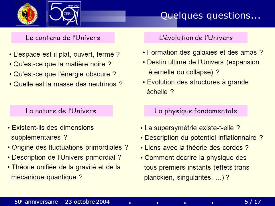 50 e anniversaire – 23 octobre 20045 / 17 Quelques questions... Le contenu de lUnivers Lespace est-il plat, ouvert, fermé ? Quest-ce que la matière no