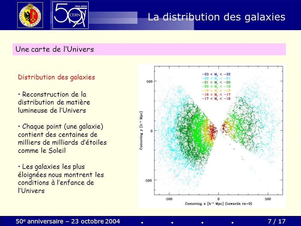 50 e anniversaire – 23 octobre 20047 / 17 La distribution des galaxies Une carte de lUnivers Distribution des galaxies Reconstruction de la distributi