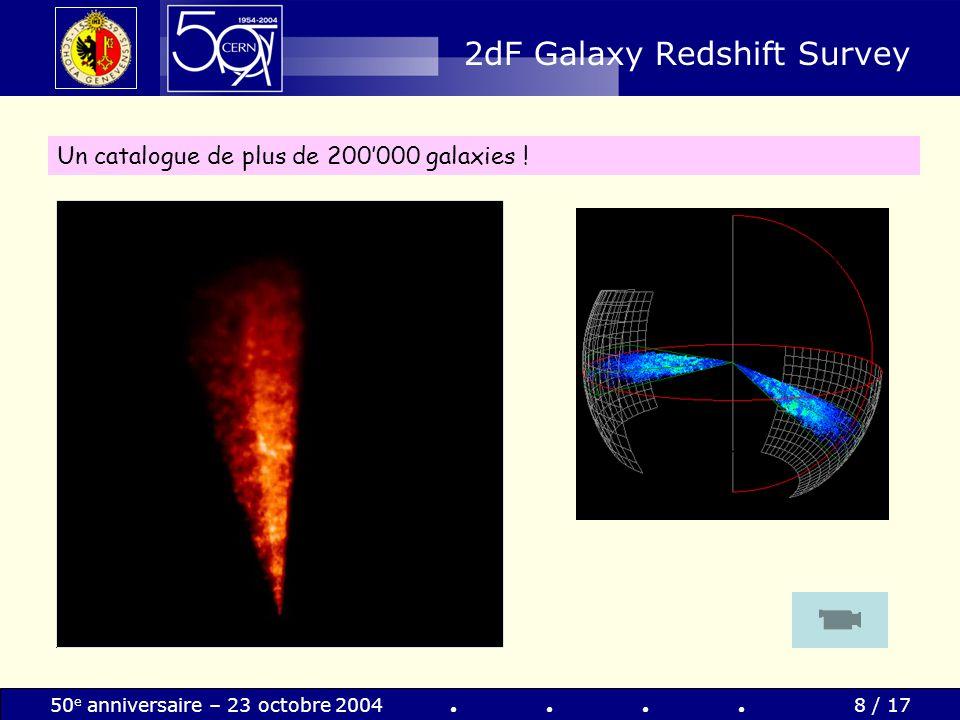 50 e anniversaire – 23 octobre 20049 / 17 Le fonds diffus cosmique Découvert accidentellement par Penzias & Wilson en 1964 (ils obtiendront le Nobel de la Physique en 1978) Il sagit de « la lumière refroidie provenant de lexplosion initiale (Big Bang) » Il se trouve partout dans lUnivers, avec une température de 3 K (soit -270 °C) Penzias & Wilson en 1964 T » 3 K Le rayonnement cosmologique diffus