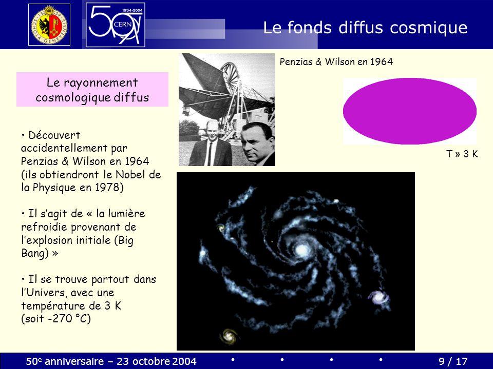 50 e anniversaire – 23 octobre 20049 / 17 Le fonds diffus cosmique Découvert accidentellement par Penzias & Wilson en 1964 (ils obtiendront le Nobel d