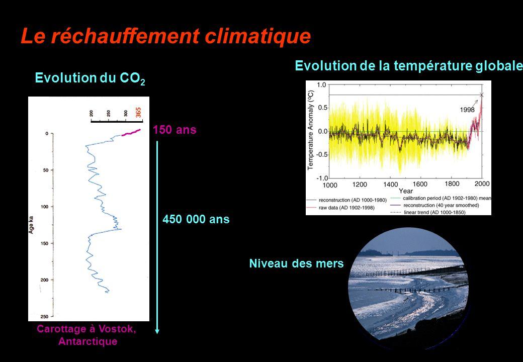 Le réchauffement climatique 365 Evolution du CO 2 150 ans 450 000 ans Carottage à Vostok, Antarctique Evolution de la température globale Niveau des m