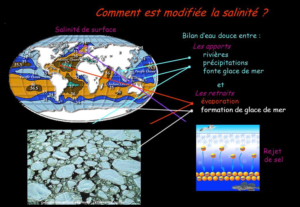 Comment est modifiée la salinité ? Bilan deau douce entre : Salinité de surface Les apports rivières précipitations fonte glace de mer Salinité en mer