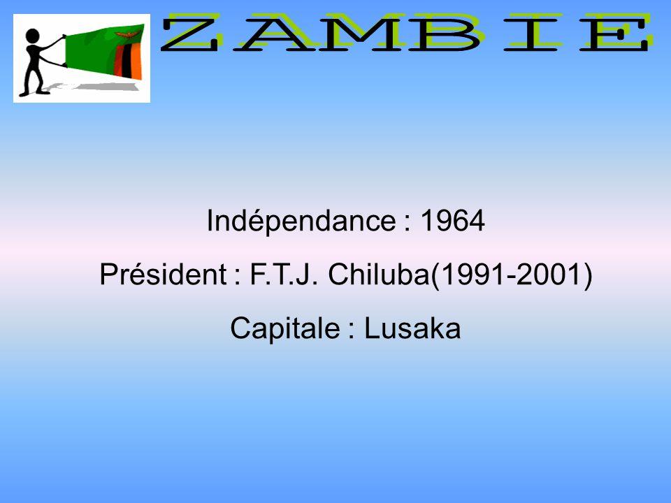 Indépendance : 1964 Président : F.T.J. Chiluba(1991-2001) Capitale : Lusaka