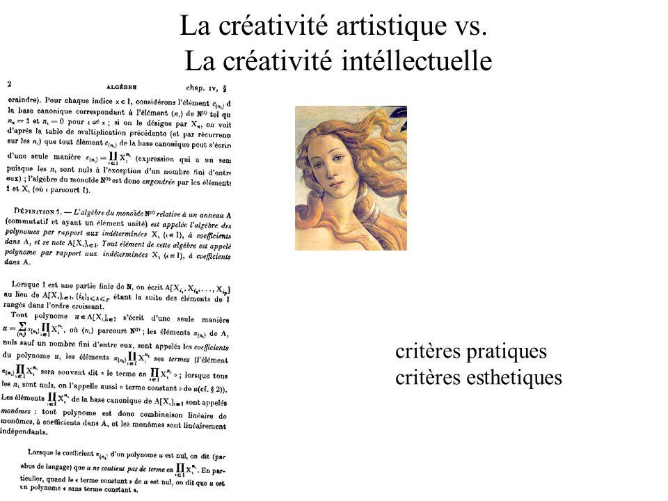 La créativité artistique vs. La créativité intéllectuelle critères pratiques critères esthetiques
