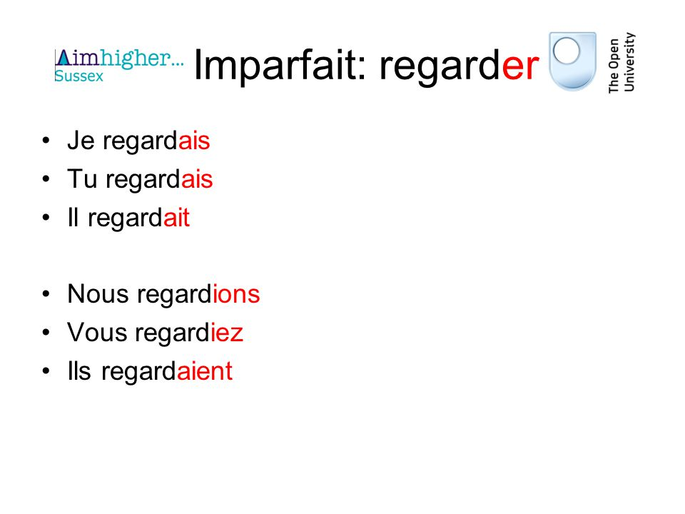 Imparfait: all verbs All follow the rule: –Take the nous form of the present tense –Remove the -ons –Add the endings ais, ais, ait, ions, iez, aient