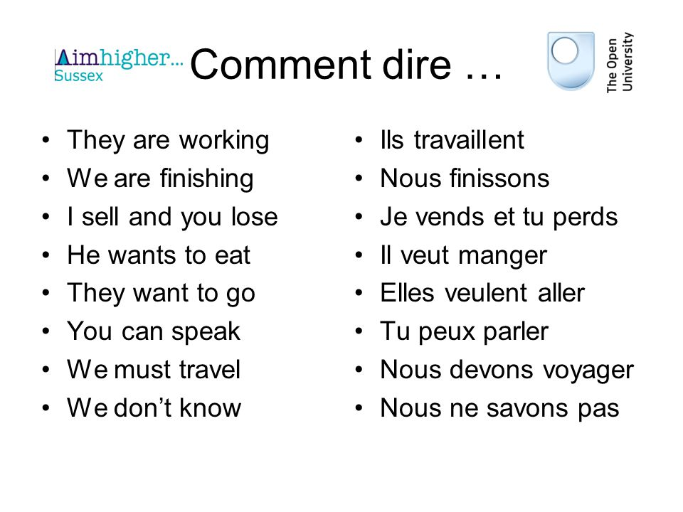 Comment dire … They are working We are finishing I sell and you lose He wants to eat They want to go You can speak We must travel We dont know Ils travaillent Nous finissons Je vends et tu perds Il veut manger Elles veulent aller Tu peux parler Nous devons voyager Nous ne savons pas