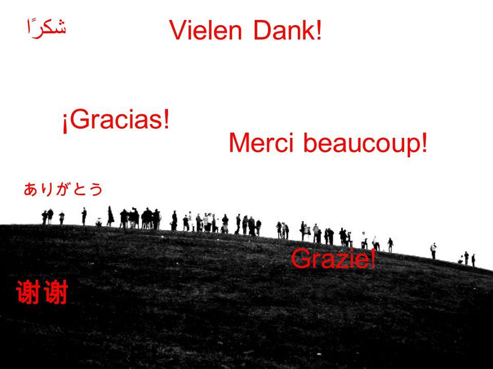 Vielen Dank! Merci beaucoup! Grazie! شكرًا ¡Gracias!