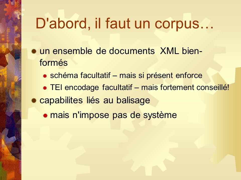 D'abord, il faut un corpus… un ensemble de documents XML bien- formés schéma facultatif – mais si présent enforce TEI encodage facultatif – mais forte