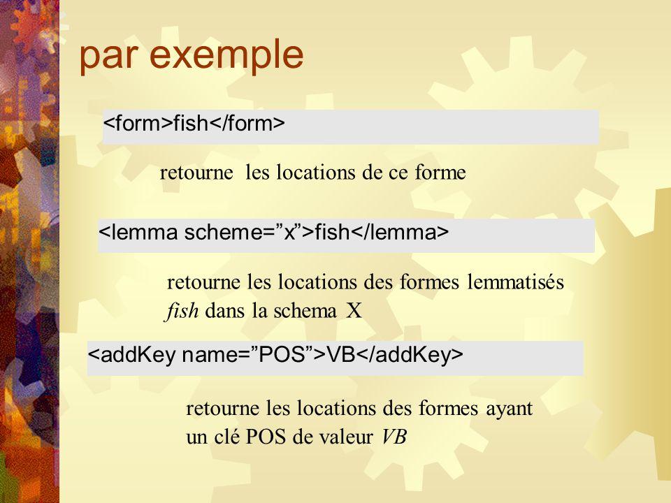 par exemple fish retourne les locations de ce forme fish retourne les locations des formes lemmatisés fish dans la schema X VB retourne les locations des formes ayant un clé POS de valeur VB