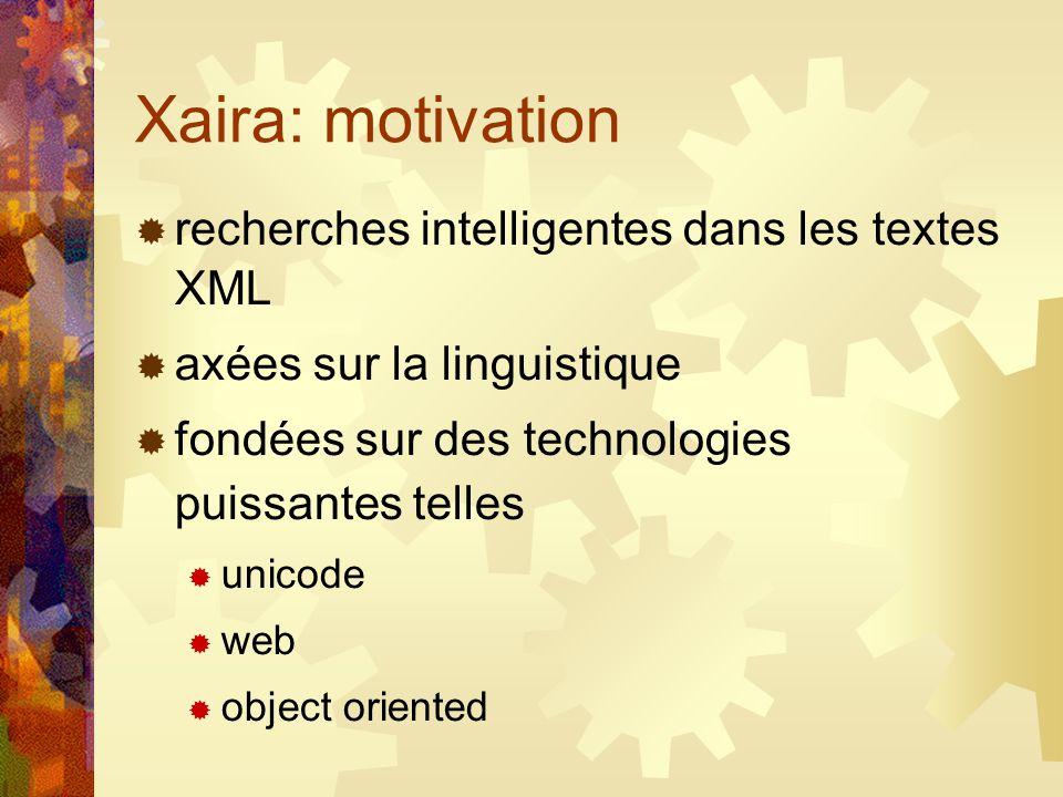 Xaira: motivation recherches intelligentes dans les textes XML axées sur la linguistique fondées sur des technologies puissantes telles unicode web object oriented