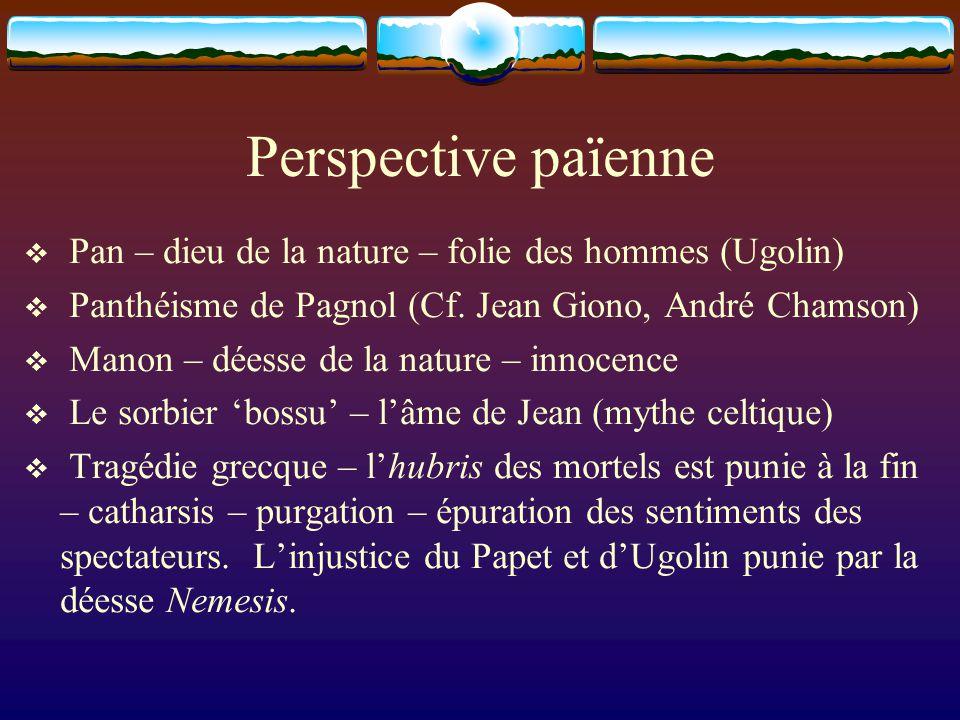 Perspective païenne Pan – dieu de la nature – folie des hommes (Ugolin) Panthéisme de Pagnol (Cf. Jean Giono, André Chamson) Manon – déesse de la natu
