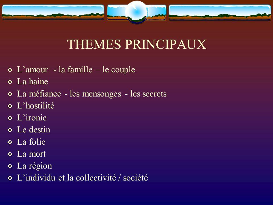 THEMES PRINCIPAUX Lamour - la famille – le couple La haine La méfiance - les mensonges - les secrets Lhostilité Lironie Le destin La folie La mort La