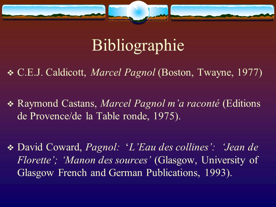 Bibliographie C.E.J. Caldicott, Marcel Pagnol (Boston, Twayne, 1977) Raymond Castans, Marcel Pagnol ma raconté (Editions de Provence/de la Table ronde