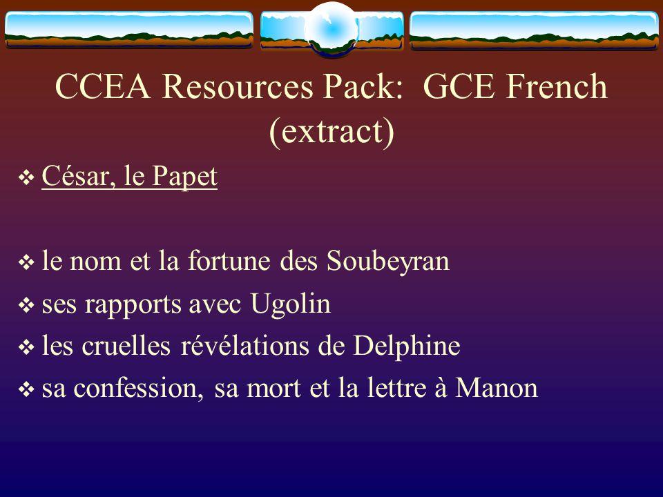 CCEA Resources Pack: GCE French (extract) César, le Papet le nom et la fortune des Soubeyran ses rapports avec Ugolin les cruelles révélations de Delphine sa confession, sa mort et la lettre à Manon