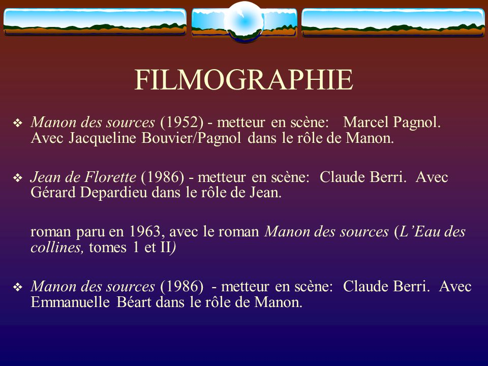 FILMOGRAPHIE Manon des sources (1952) - metteur en scène: Marcel Pagnol. Avec Jacqueline Bouvier/Pagnol dans le rôle de Manon. Jean de Florette (1986)