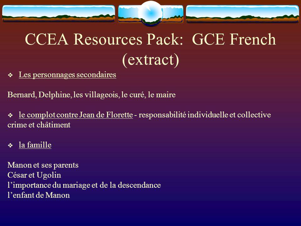 CCEA Resources Pack: GCE French (extract) Les personnages secondaires Bernard, Delphine, les villageois, le curé, le maire le complot contre Jean de F