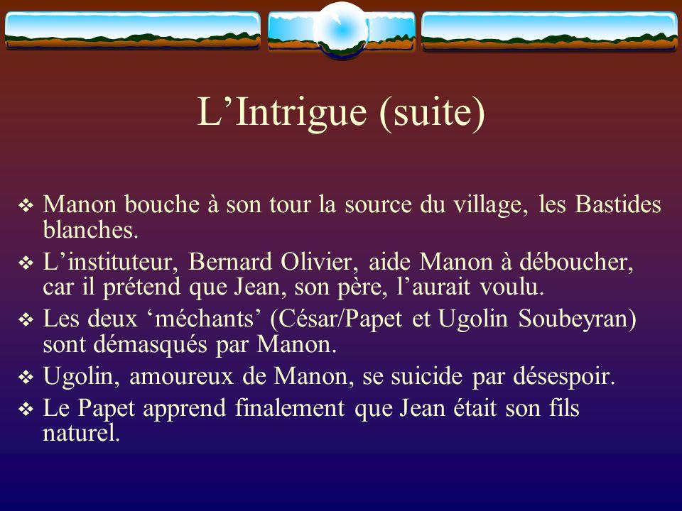 LIntrigue (suite) Manon bouche à son tour la source du village, les Bastides blanches. Linstituteur, Bernard Olivier, aide Manon à déboucher, car il p