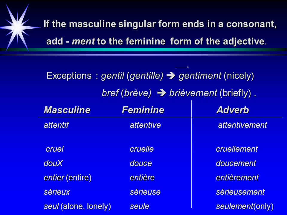 Add - ment to the masculine singular form of an adjective that ends with a vowel, as shown in the following table. Adjective Adverb facile (easy) faci