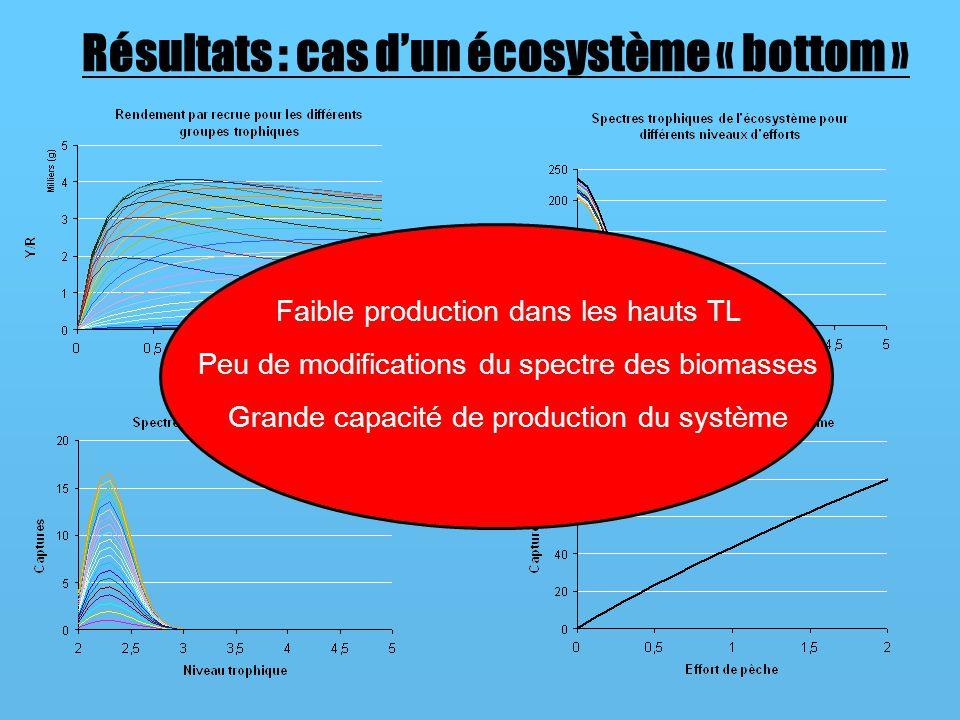 Résultats : cas dun écosystème « bottom » Faible production dans les hauts TL Peu de modifications du spectre des biomasses Grande capacité de production du système