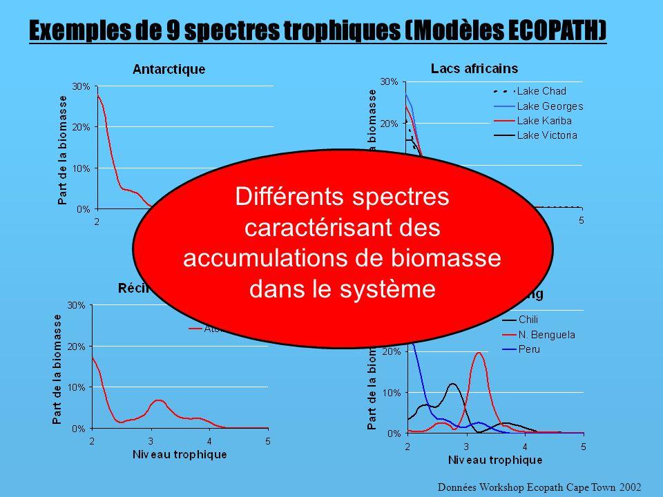Données Workshop Ecopath Cape Town 2002 Exemples de 9 spectres trophiques (Modèles ECOPATH) Différents spectres caractérisant des accumulations de biomasse dans le système