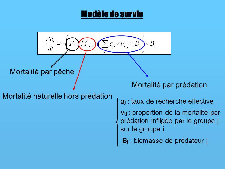 Modèle de survie Mortalité par pêche Mortalité naturelle hors prédation Mortalité par prédation a j : taux de recherche effective ij : proportion de l