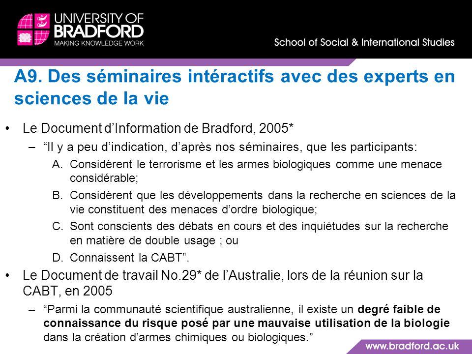 A9. Des séminaires intéractifs avec des experts en sciences de la vie Le Document dInformation de Bradford, 2005* –Il y a peu dindication, daprès nos