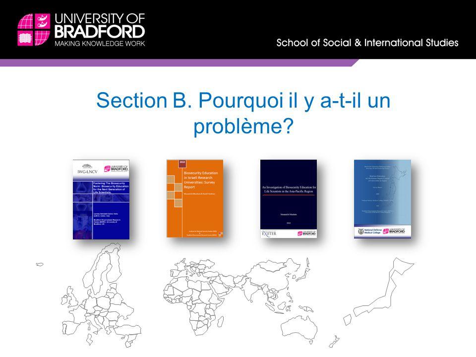 Section B. Pourquoi il y a-t-il un problème?
