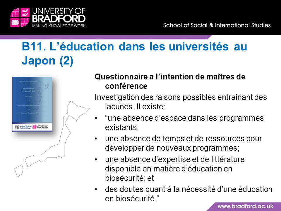 B11. Léducation dans les universités au Japon (2) Questionnaire a lintention de maîtres de conférence Investigation des raisons possibles entrainant d