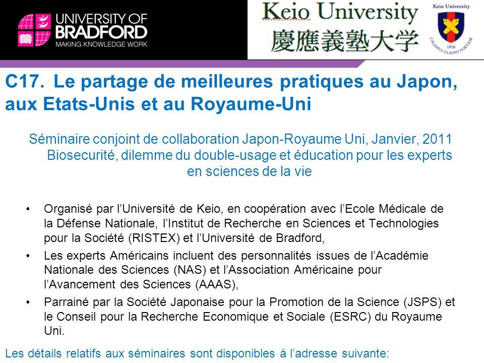 C17.Le partage de meilleures pratiques au Japon, aux Etats-Unis et au Royaume-Uni Séminaire conjoint de collaboration Japon-Royaume Uni, Janvier, 2011