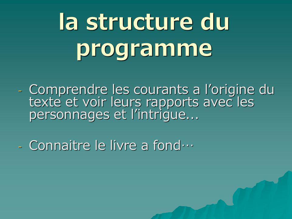 la structure du programme - Comprendre les courants a lorigine du texte et voir leurs rapports avec les personnages et lintrigue...