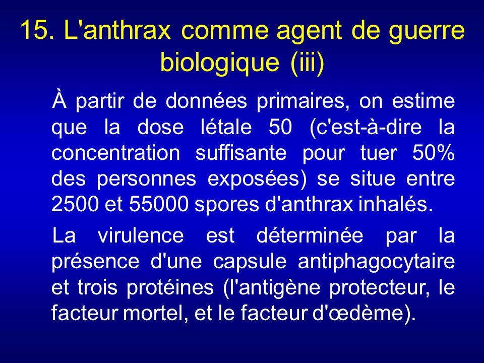 15. L'anthrax comme agent de guerre biologique (iii) À partir de données primaires, on estime que la dose létale 50 (c'est-à-dire la concentration suf