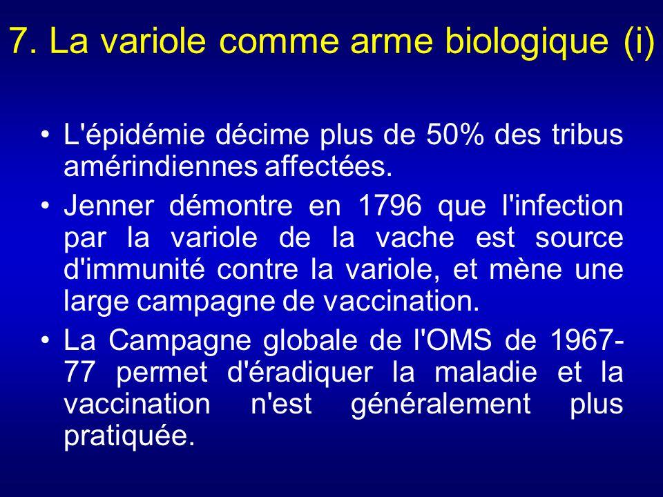 8.La variole comme arme biologique (ii) Une faible dose suffit pour être contaminante.