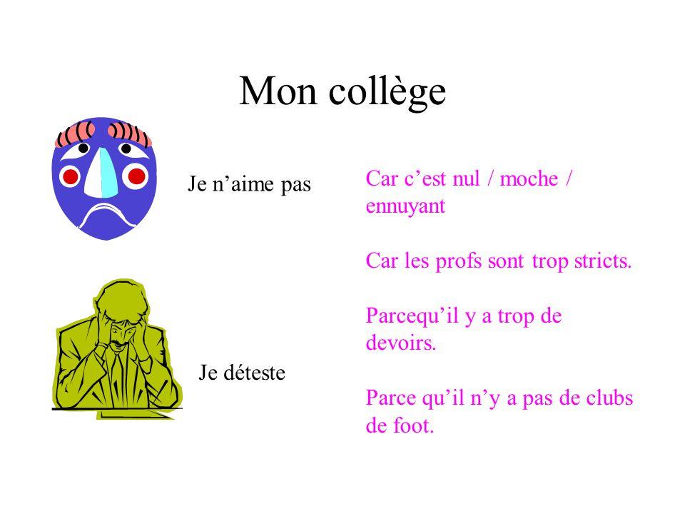Mon collège SUMMARY Mon collège sappelle… Mon collège est grand/petit Il y a mille deux cents étudiants Jhabite près / loin du collège Je vais au collège en….