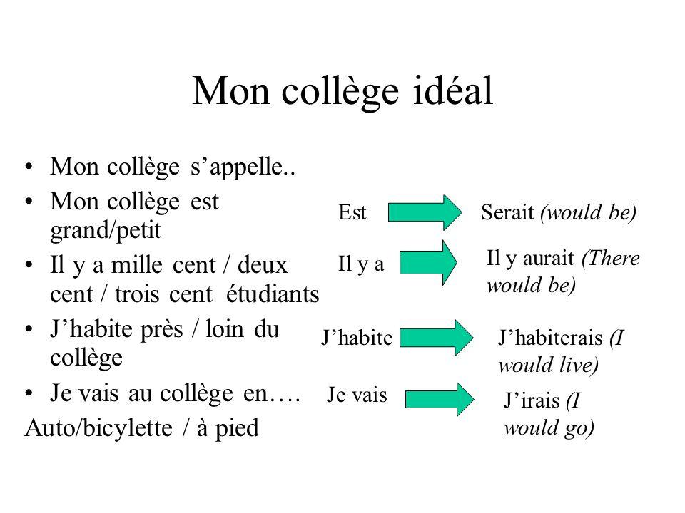 Mon collège Jétudierais (I would study) Jaimerais parce que..ce serait(I would like… because it would be) Je (ne) porterais (pas) (I would not wear) Je (ne )ferais….(pas) (I would not be) Je fais 9 matieres Je prefere.parce que cest Jaime..