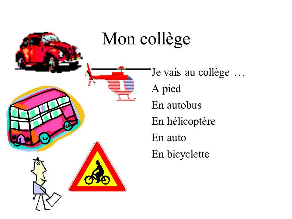 Mon collège Jétudie neuf matières: le français, langlais, lhistoire,les maths, la géo et la musique.
