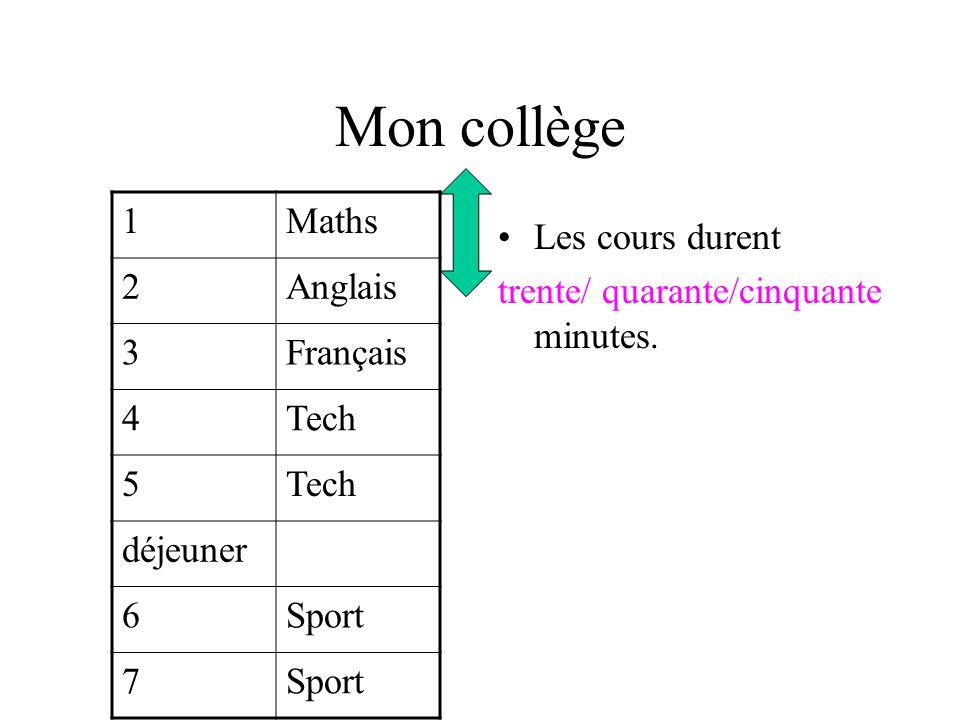 Mon collège Le matin, nous avons quinze minutes / vingt minutes de récré 1Maths 2Anglais 3Français 4Tech 5 déjeuner 6Sport 7