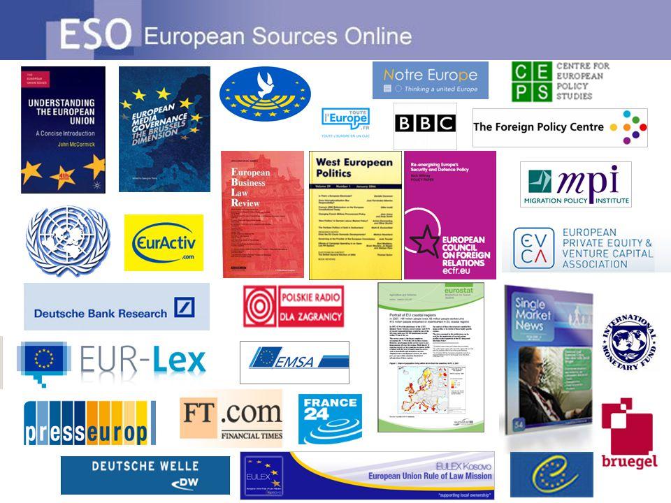 Autres caractéristiques dESO Rester informé des évolutions en Europe: Informations ajoutées quotidiennement Les sources principales mettent en évidence les sources les plus importantes.